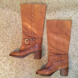 MICHAEL KORS TAN LEATHER STUDDED RIDING BOOTS
